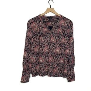 ●Lucky Brand Paisley Long Sleeve Blouse